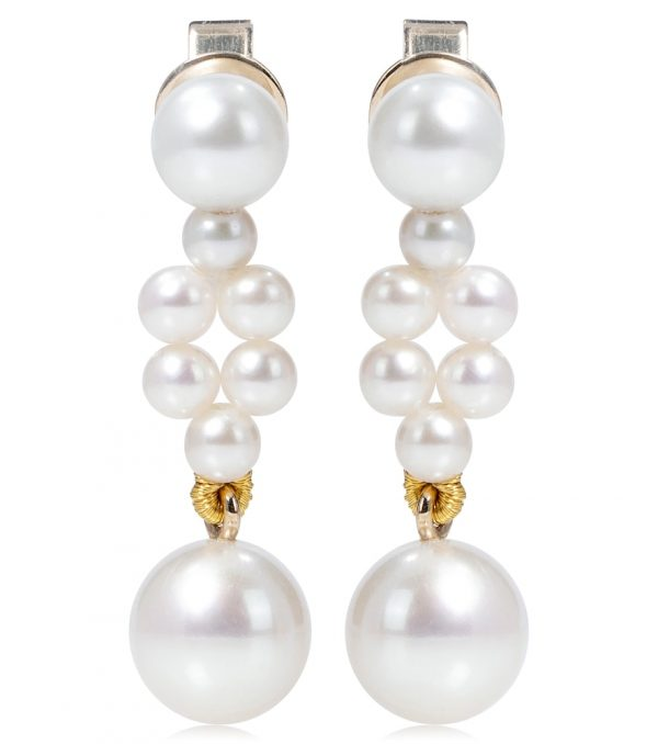 Petite Tressé 14kt gold earrings with pearls