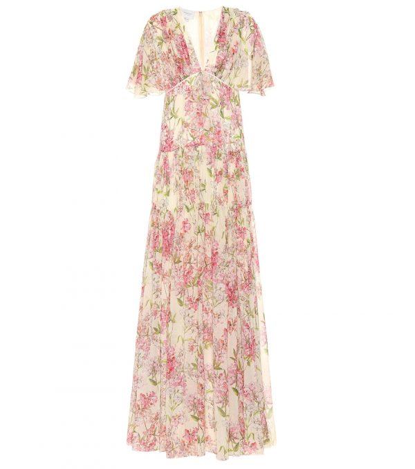 Tiered floral silk maxi dress