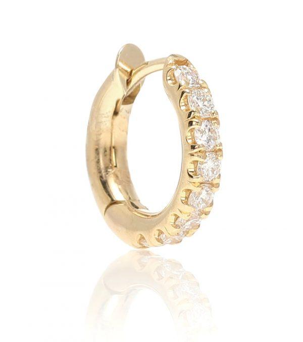 Mini Micro Hoop Pavé 18kt gold and diamond earring