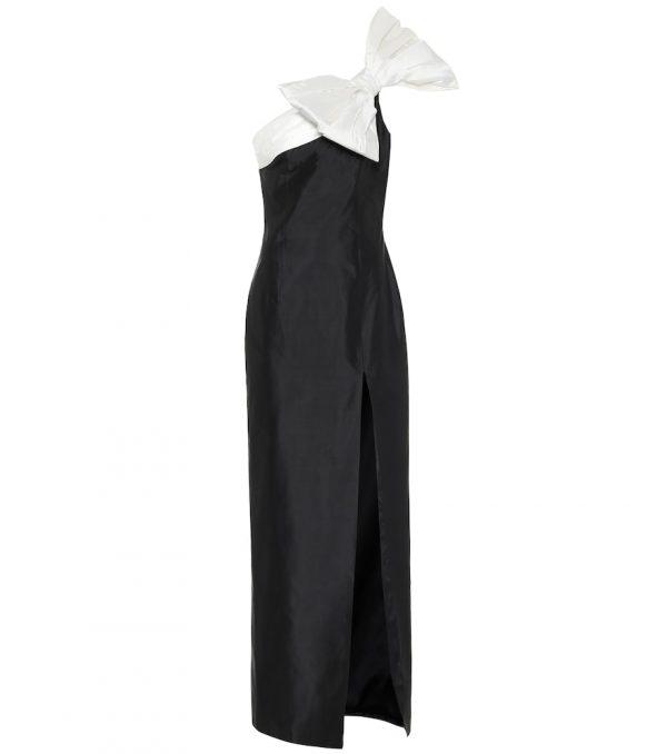 One-shoulder silk dress