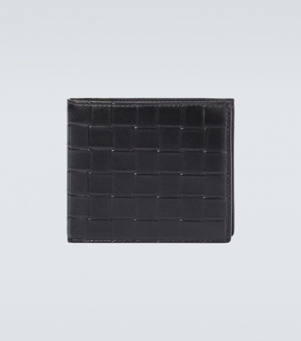 Printed Grid leather wallet