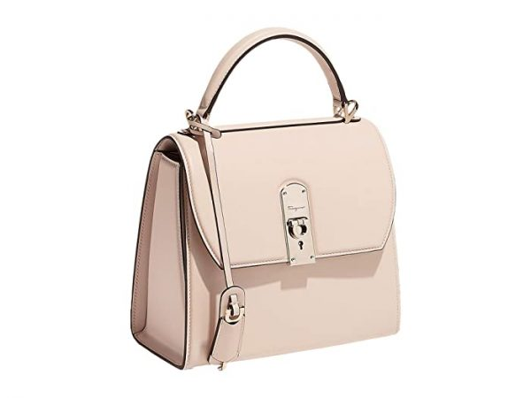 Salvatore Ferragamo Boxyz Satchel Medium (Bone) Handbags