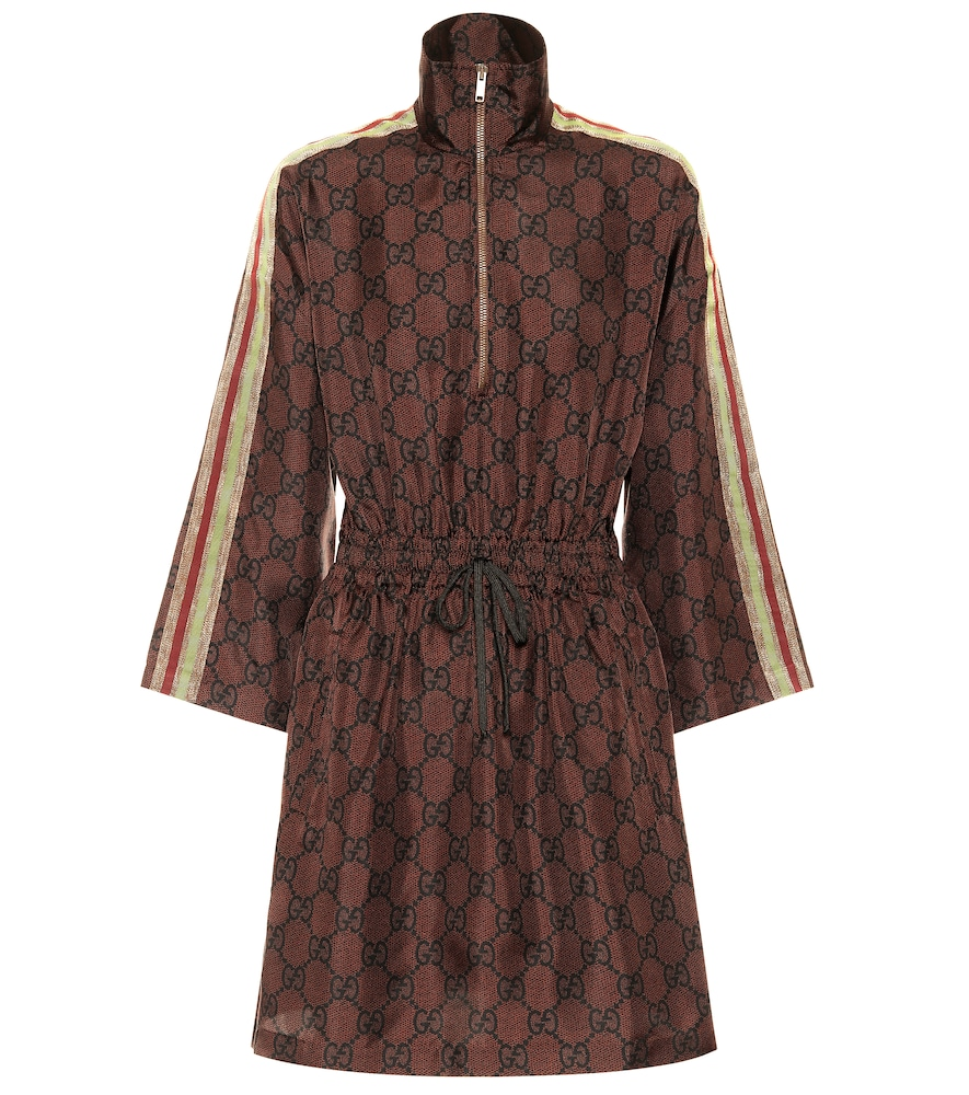 GG Supreme printed silk-twill dress