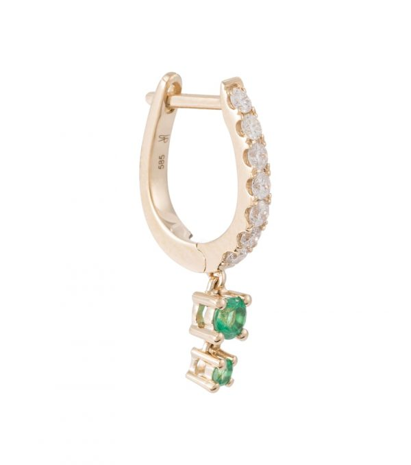14kt gold single hoop earring with diamonds and emeralds