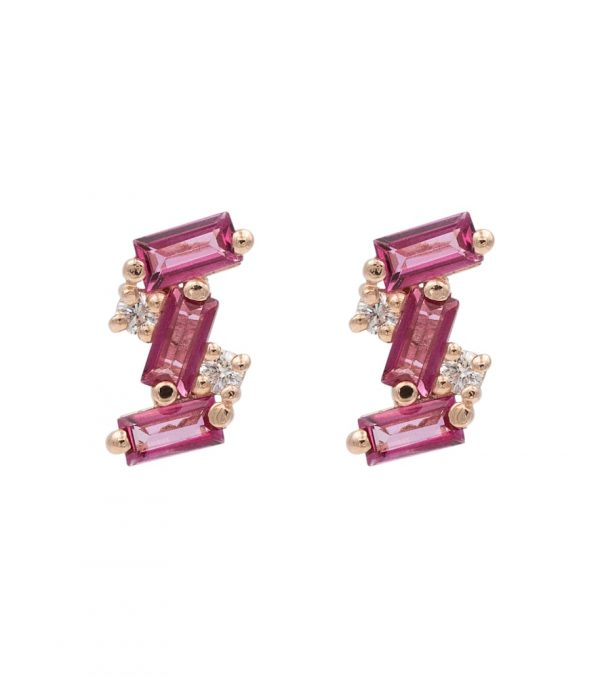 14kt rosè gold pink topaaz earrings with diamonds