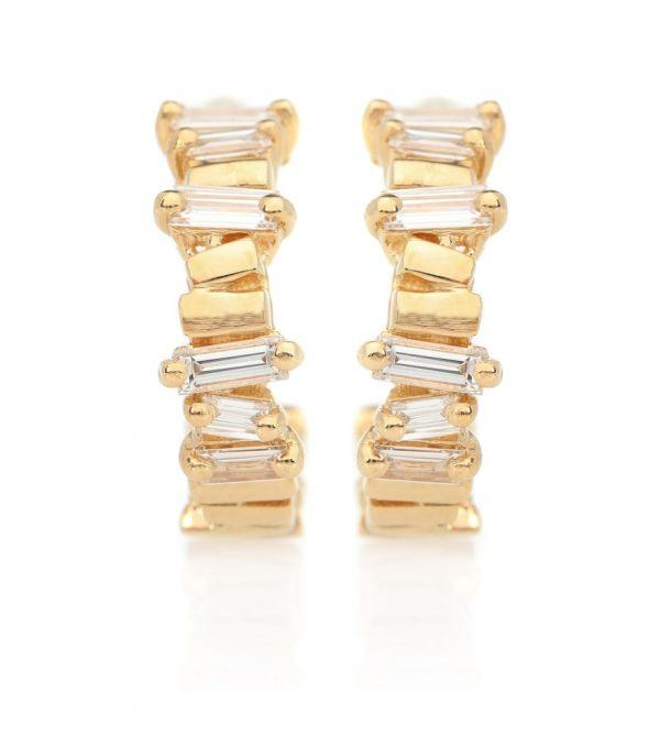 18kt gold diamond hoop earrings