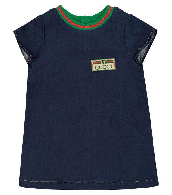 Baby cotton-blend denim dress
