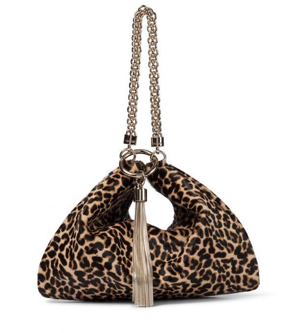 Callie leopard-print pony hair clutch