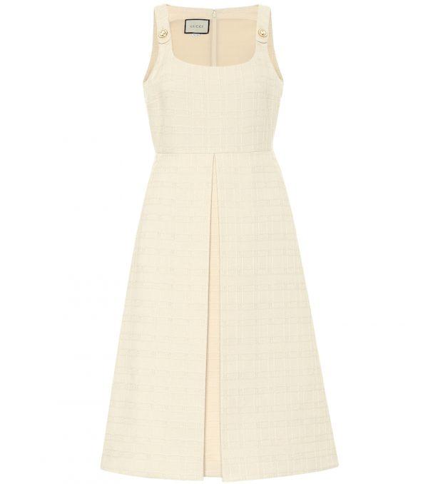 Cotton and wool tweed midi dress