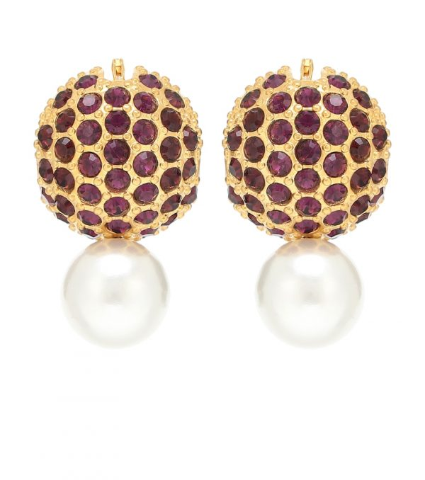 Crystal and faux pearl earrings