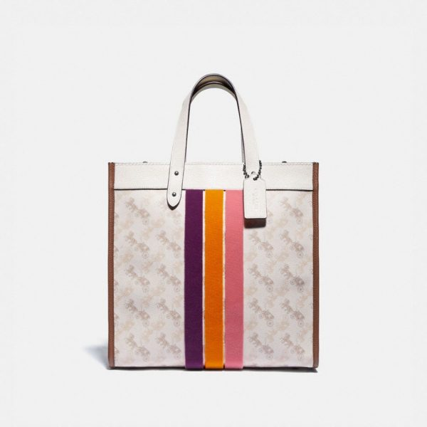 Field Tote With Horse And Carriage Print And Varsity Stripe in White