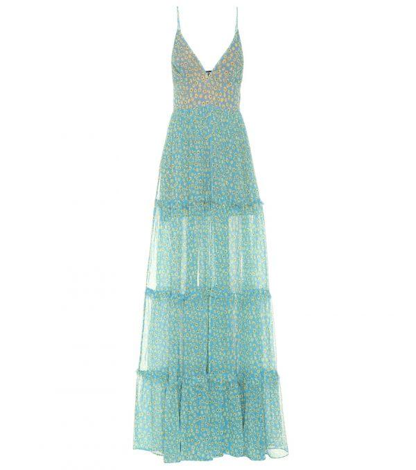 Floral-printed silk maxi dress