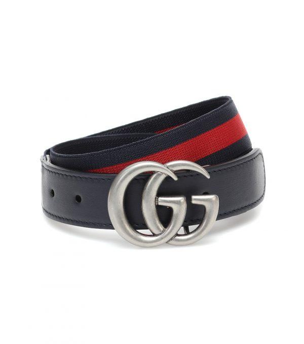 GG leather-trimmed belt