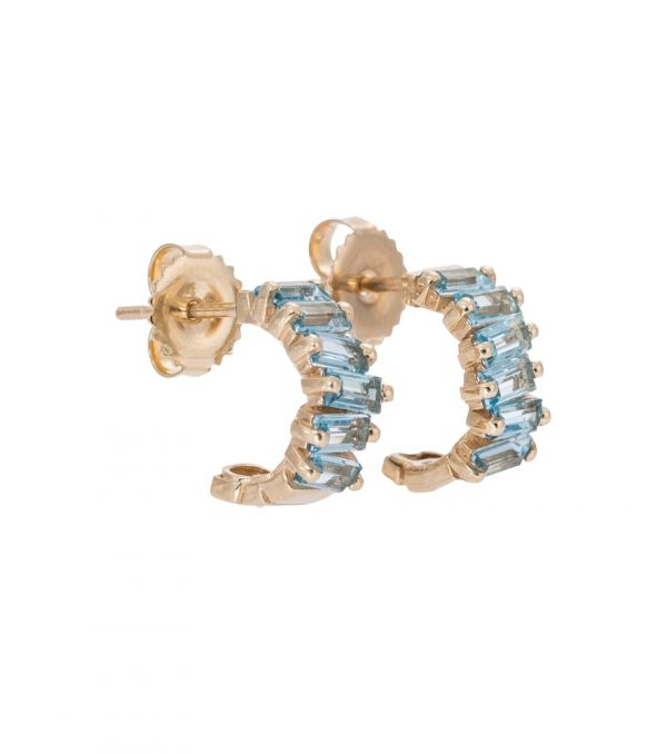 Gia 14kt gold hoop earrings with topaz