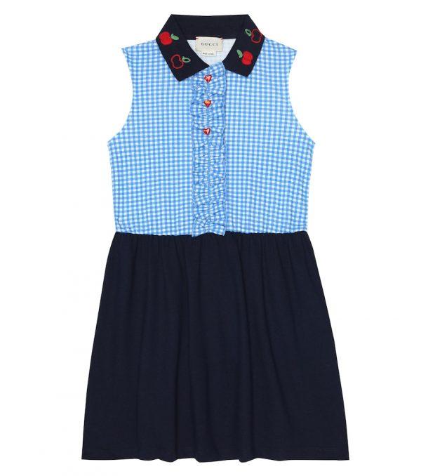 Gingham stretch-cotton polo dress
