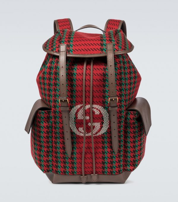 Houndstooth and striped backpack