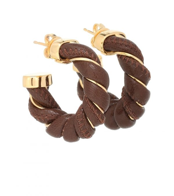 Leather and sterling silver earrings