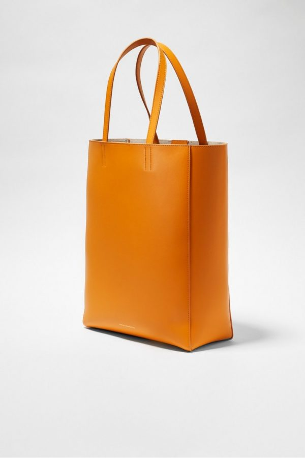 Moa Large Recycled Leather Tote - golden oak/lavender