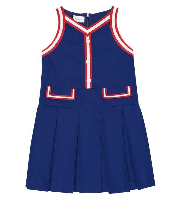 Pleated stretch-cotton dress