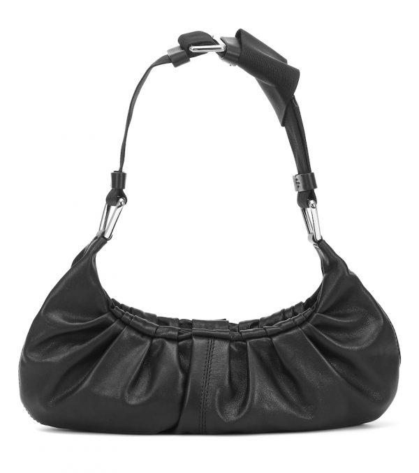Ruched leather shoulder bag