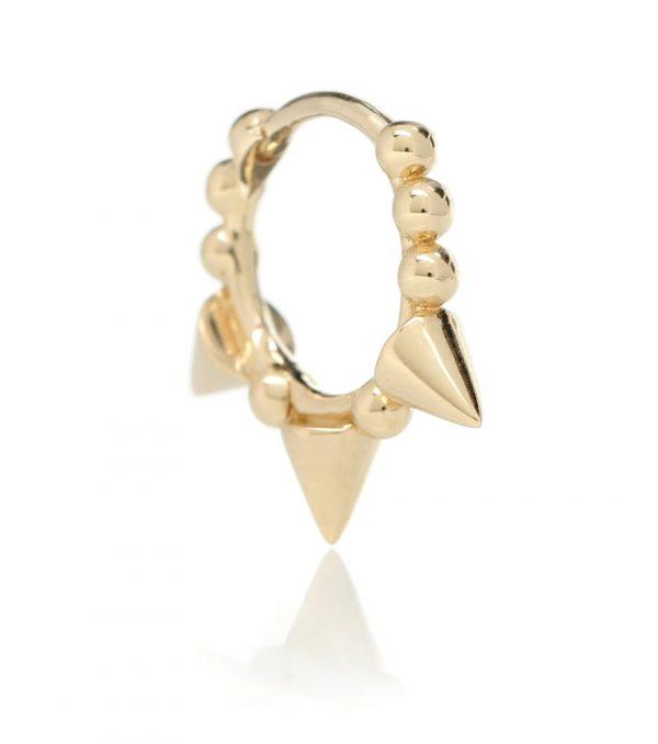 Triple Spike Clicker 14kt gold earring
