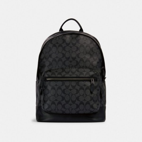 West Backpack In Signature Canvas in Black